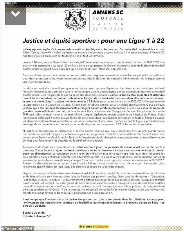 Amiens, clube da Ligue 1 rebaixado, faz propaganda em jornal