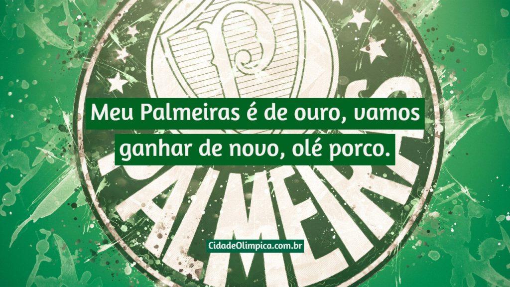 Meu Palmeiras é de ouro, vamos ganhar de novo, olé porco.
